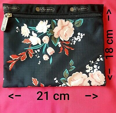 LeSportsac Travel Bag Zip Pouch Cosmetic Bag Make Up Toiletry Bag Gift New Black