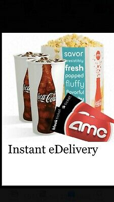 2 AMC Theaters Black MOVIE TICKETS, 2 Large Drinks, 1 Large POPCORN  5 MIN DELIV