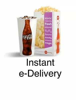 AMC Movie Theater 1 Large Fountain Drink + 1 Large Popcorn   INSTANT DELIVERY!