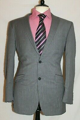 "Mens Ben Sherman Striped Light Grey Designer Suit Uk 42 Reg W32"" X L33"""