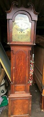Antique Grandfather Longcase Clock Moon Phase Brass Face