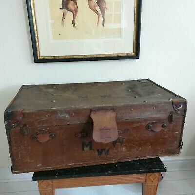 Antique Case Trunk Steamer Prop Display Coffee Table MV