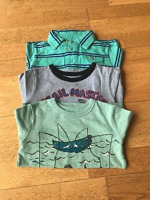 Baby Gap Boys T-Shirt Bundle X3 Tops Blue & Green Job Lot Age: 2 Years