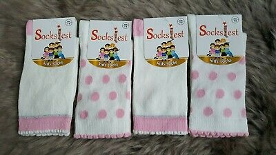 4 Pairs Girls / Kids Socks Age 7-9 Years Pink & White Cotton Rich Seamless Socks