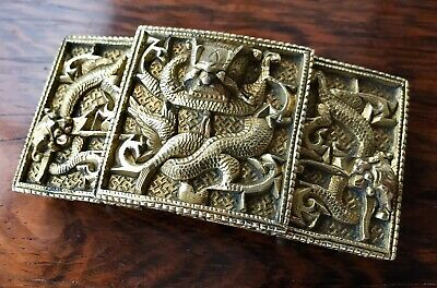 Antique Chinese Dragon Gilt Bronze Belt Buckle Qing Dynasty 19th Century