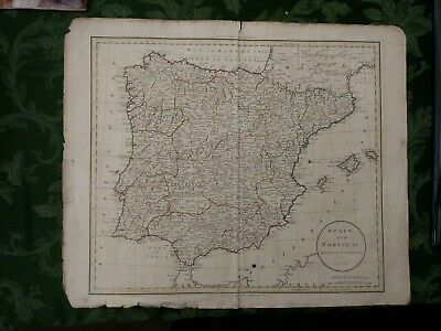 Original 1799 map of Spain and Portugal by Russell. Dilly,Robinson publishers
