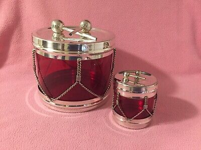 FB Rogers Silver Co. Drum Ice Bucket & Olive Server Silver Plated Set