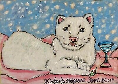 ACEO White Ferret Drinking a Snowball Martini Art Print 2.5x3.5 Signed by Artist