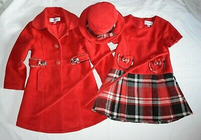 GIRL'S 4-5 Years RED COUCHE TO 3 Pieces SET (Dress Hat Coat) CHRISTMAS NEXT D P