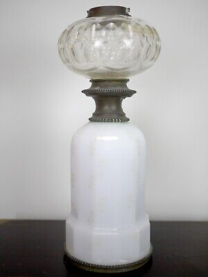 Antique Victorian French Cut Crystal Glass Oil Font Opaline Brass Lampe Aureole
