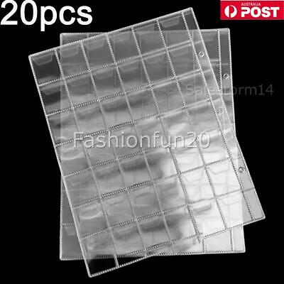 20pcs 42 Pockets Coin Holders Folder Pages Sheets For Collection Album Storage