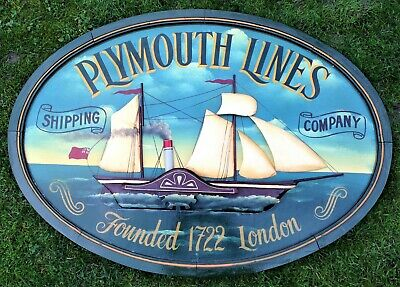 Plymouth Lines Shipping Company London Hand Painted Collectable Advertising Sign