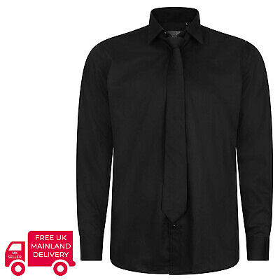 Robelli Plain Black Quality Cotton Dress Shirt & Matching Tie Set