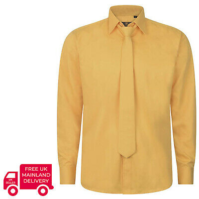 Robelli Plain Mustard Yellow Quality Cotton Dress Shirt & Matching Tie Set