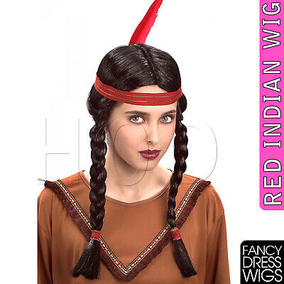 Adult Ladies Wig Western Native American Red Indian Pocahontas FancyDress COSPLA