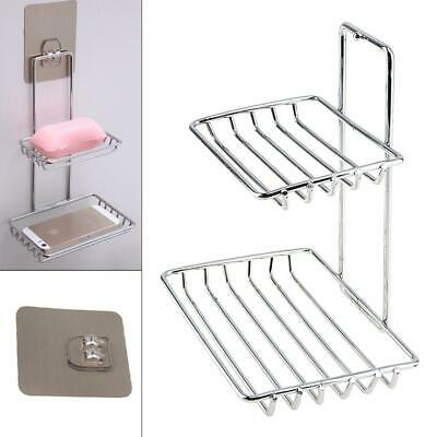 Double  Wall Mounted Self Adhesive Stainless Steel Soap Dish Storage Holder