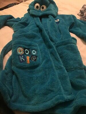 Marks And Spencer Boys Used Dressing Gown Robe 3-4 Years Blue