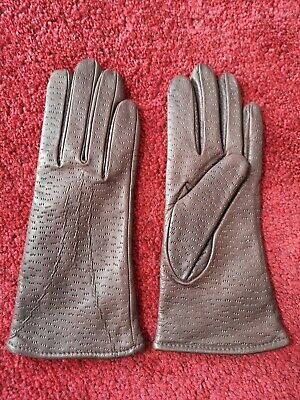 Pair Of Vintage Keynote Brown Leather Cotton Lining Gloves Size Small