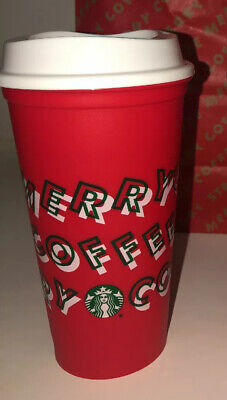 FOUR New Starbucks Holiday Christmas 2019 Red Reusable Cup w/ Lid