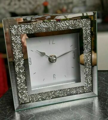Square Crystal Silver Glass Mantle ,Table Clock New