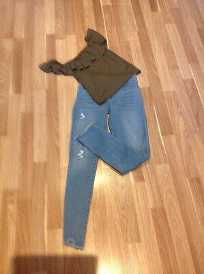 BNWOT RIVER ISLAND SKINNY RIPPED JEANS AND RI TOP AGE 11/12 Years Must See !!