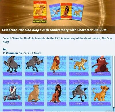 Topps Disney Collect Card Trader Lion King 25 Anniv Character Die-Cut Blue Set