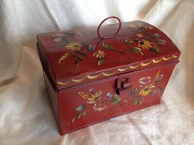 Antique FOLK ART painted tin toleware DOCUMENT DEED BOX red flowers dome lid