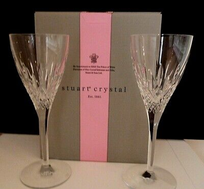 Stuart Crystal Goblet Wine Glasses-Madison-Set Of Two-Perfect Glass Ware
