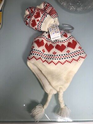Next Baby Girls Cream & Pink Hat And Mittens Set Up To 3 Months F&F Tesco New