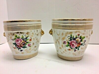 Pair Antique Old Paris Porcelain Cache Pots Lion Heads Floral