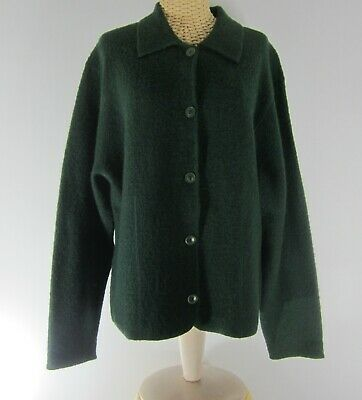 Vintage Charter Club Womens Large Dark Green LS Boiled Wool Jacket Cardigan L