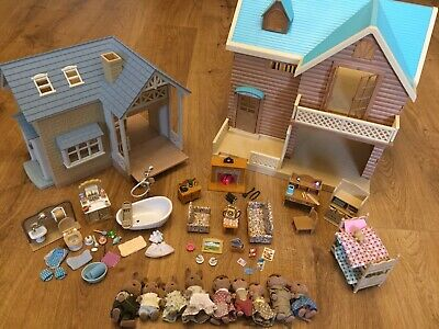 Sylvanian Families Bundle Houses Figures Furniture Living Bath Bed Room Lodges