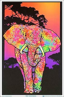"Painted Elephant Laminated Blacklight Poster - 23.5"" x 35.5"""