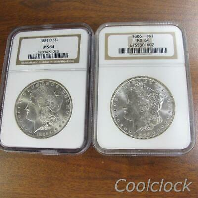 2 Pc Lot 1884 O 1886 Morgan Silver One Dollar $1 Coins NGC Graded MS 64 #Q240