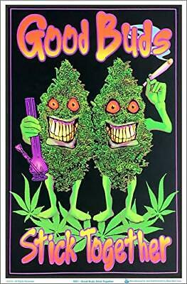 "Good Buds Stick Together Weed Laminated Blacklight Poster - 23.5"" x 35.5"""