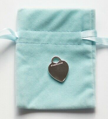 """Tiffany & Co Heart Charm 925 Sterling Silver Necklace Engraved """"2009"""" (B1458)"""