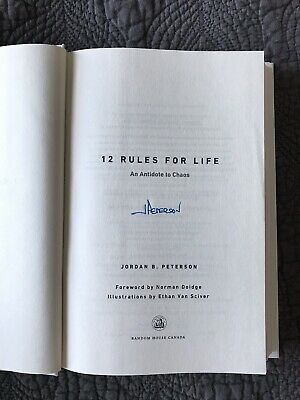12 Rules for Life: An Antidote to Chaos by Jordan B. Peterson Hardcover SIGNED
