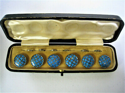 Cased Set Of Six Antique Blue Enamel Over Sterling Silver Waistcoat Buttons
