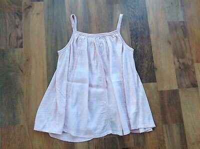 Girls vest top, pink / peach, detail pattern and butterfly back, Next age 10 yea