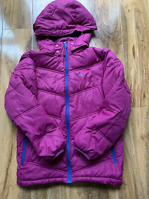 Girls Trespass Jacket Logo Pink Hood Insulated Age 9-10 Years Winter