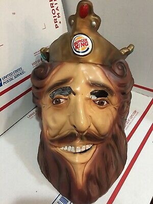 Vintage 2007 BURGER KING DELUXE RUBBERY FACE MASK THE KING RUBIE'S CREEPY COOL