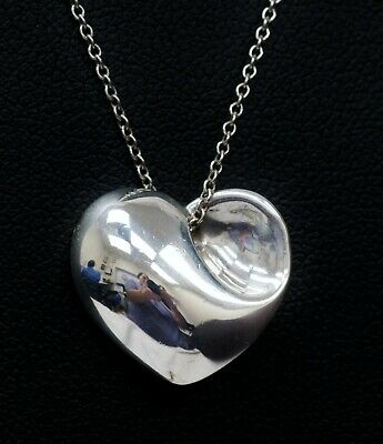"""Vintage Tiffany & Co Puffed Heart 925 Sterling Silver Necklace 16.5"""" (B1456)"""