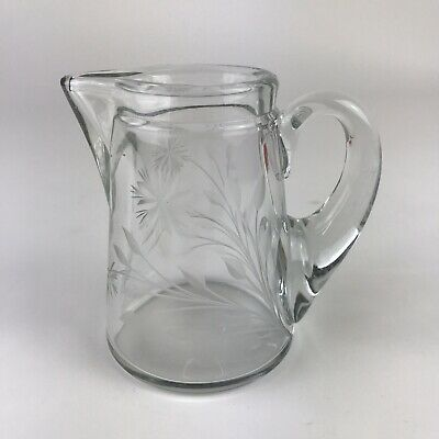 Small Glass Pitcher Creamer Etched Flowers