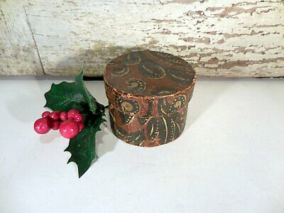 AAFA Miniature Wallpaper Covered Box Antique Primitive Bandbox Pasteboard Box