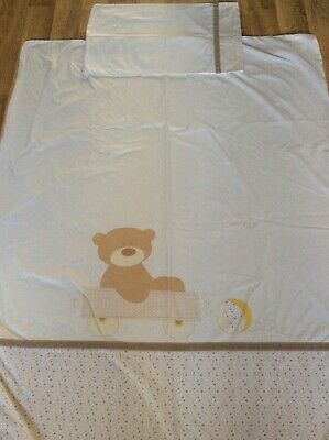 """Mothercare Cot Bed Loved So Much Bear Duvet Cover Pillowcase 54"""" x 42""""  VGC"""