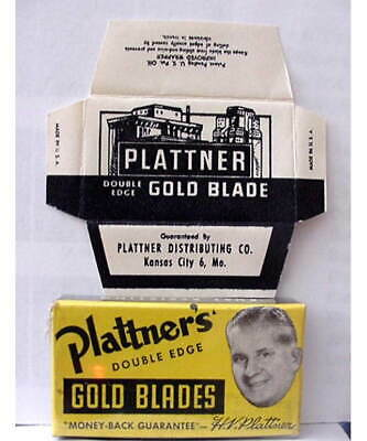 Vintage PLATTNER 'S GOLD FULL BOX DE  Safety Razor Blades