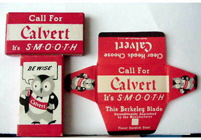 Vintage CALVERT DISTILLERS OWLS  FULL BOX DE  Safety Razor Blades