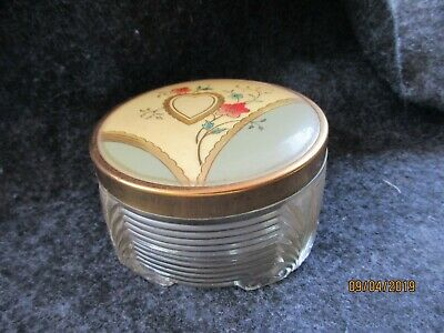 VTG Ornate Glass Bottomed Powder Puff Trinket Box Tin Lid Hearts & Flowers Empty