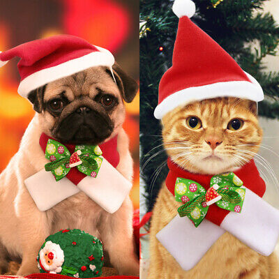 Christmas Pet Santa Hat for Cats Dogs Puppies Xmas Decoration Red Costume UK