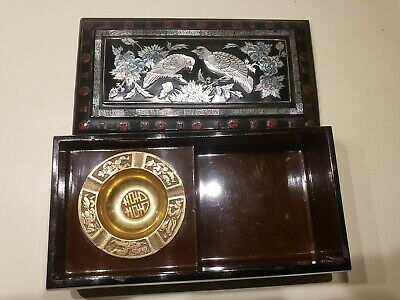 CHINESE LACQUER SMOKING BOX MOP MOTHER OF PEARL INLAY c.1920'S